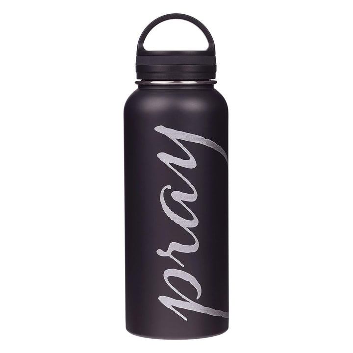 Pray Black and Silver Stainless Steel Water Bottle