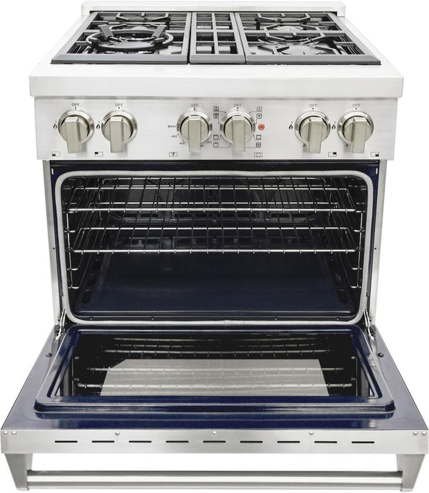 "Cosmo Commercial 30"" Dual Fuel Range with 4 Italian Burners Cast Iron Grates and 4 Function Electric Oven COS-DFR304 (30"") - America Best Appliances, LLC"