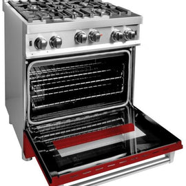 Professional Gas on Gas Range in Stainless Steel with Red Gloss Door (RG-RG-30)  ZLINE 30 in. - America Best Appliances, LLC