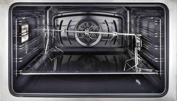 "Majestic II Series Dual Fuel Range with 4 Sealed Burners and Griddle   3.88 cu. ft. Total Oven Capacity   TFT Oven Control Display   Triple Glass Cool Door Oven   Copper Trim   in Glossy Black""UMD10FDNS3BKPLP 40 - America Best Appliances, LLC"