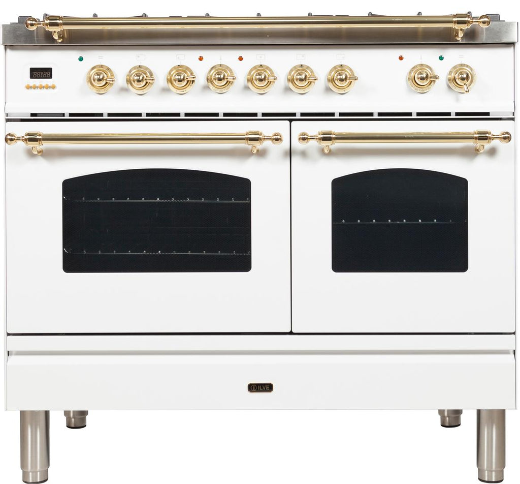 "Nostalgie Series Dual Fuel Liquid Propane Range with 5 Sealed Brass Burners  3.55 cu. ft. Total Capacity True Convection Oven  Griddle  with Brass Trim  in White UPDN100FDMPBLP 40"" - America Best Appliances, LLC"