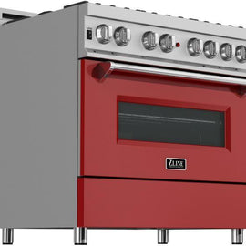 Professional Dual Fuel Range in Snow Stainless with Red Matte Door (RAS-RM-36)  ZLINE 36 in. - America Best Appliances, LLC