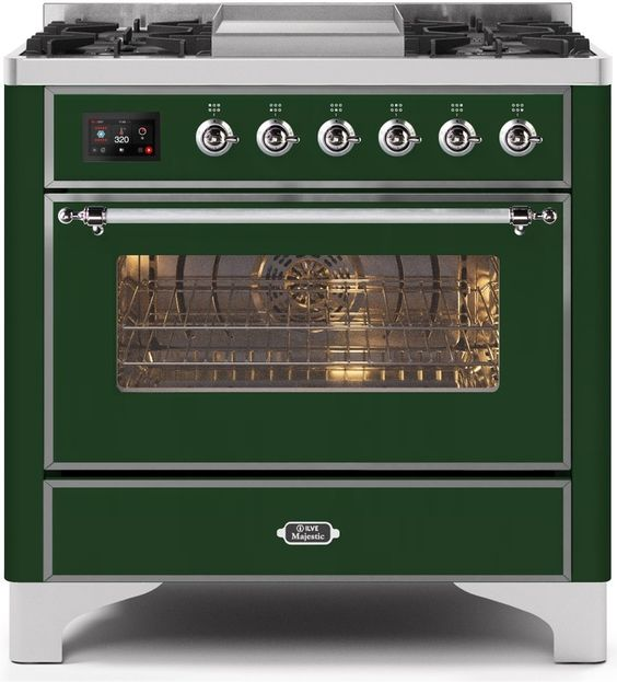 "Majestic II Series Dual Fuel Range with 4 Burners and Griddle   3.5 cu. ft. Oven Capacity   TFT Oven Control Display   Triple Glass Cool Door Oven   Chrome Trim   in Emerald Green""UM09FDNS3EGCLP 36 - America Best Appliances, LLC"