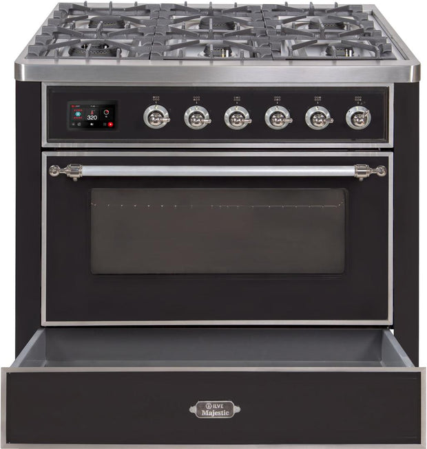 "Majestic II Series Dual Fuel Range with 6 Burners   3.55 cu. ft. Oven Capacity   Chrome Trim   in Glossy Black""UM096DNS3BKC 36 - America Best Appliances, LLC"