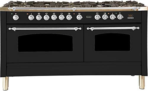 "Nostalgie Series Dual Fuel Natural Gas Range with 8 Sealed Burners  5.99 cu. ft. Total Capacity True Convection Oven  Griddle  with Chrome Trim  in Glossy Black  UPN150FDMPNX 60"" - America Best Appliances, LLC"