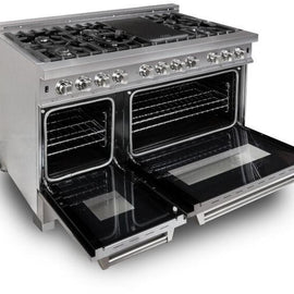 Professional Dual Fuel Range in Snow Stainless with Snow Stainless Door (RAS-SN-48)  ZLINE 48 in. - America Best Appliances, LLC