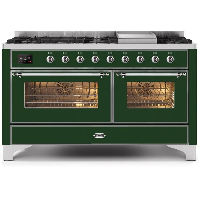 "Majestic II Series Freestanding Dual Fuel Natural Gas Range with 7 Sealed Burners   Griddle   Dual Ovens   TFT Oven Touch Control Display   Chrome Trim   in Emerald Green""UM15FE3EGC 60 - America Best Appliances, LLC"