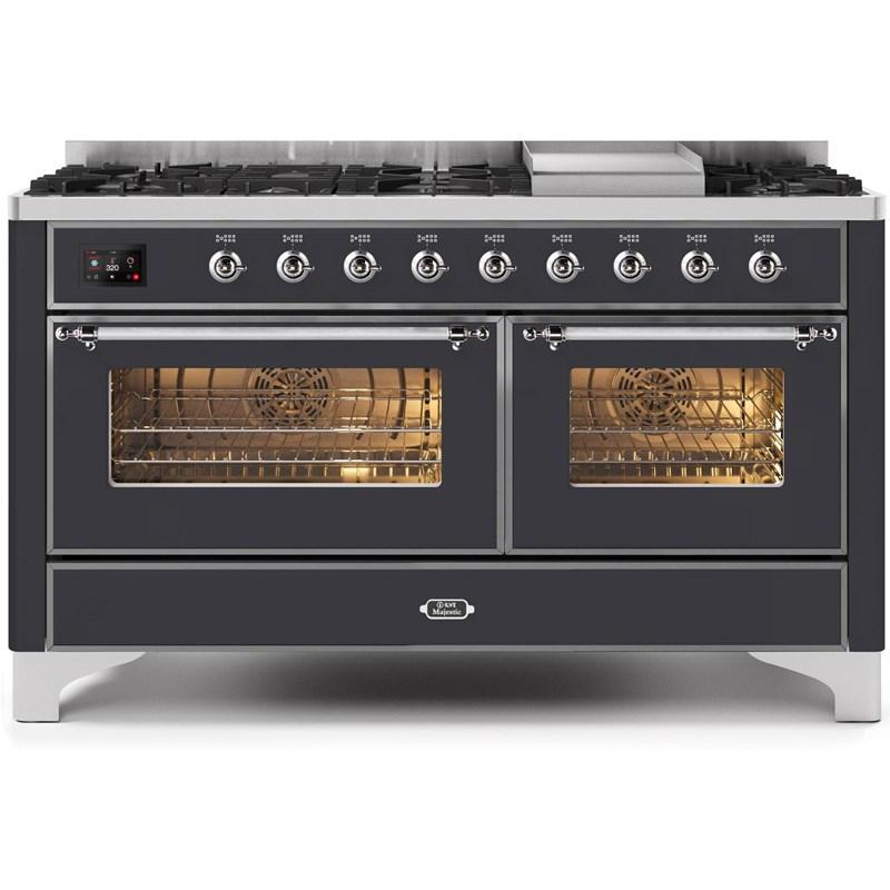 "Majestic II Series Freestanding Dual Fuel Natural Gas Range with 7 Sealed Burners  Griddle   Dual Ovens   TFT Oven Touch Control Display   Chrome Trim   in Matte Graphite""UM15FE3MGC 60 - America Best Appliances, LLC"