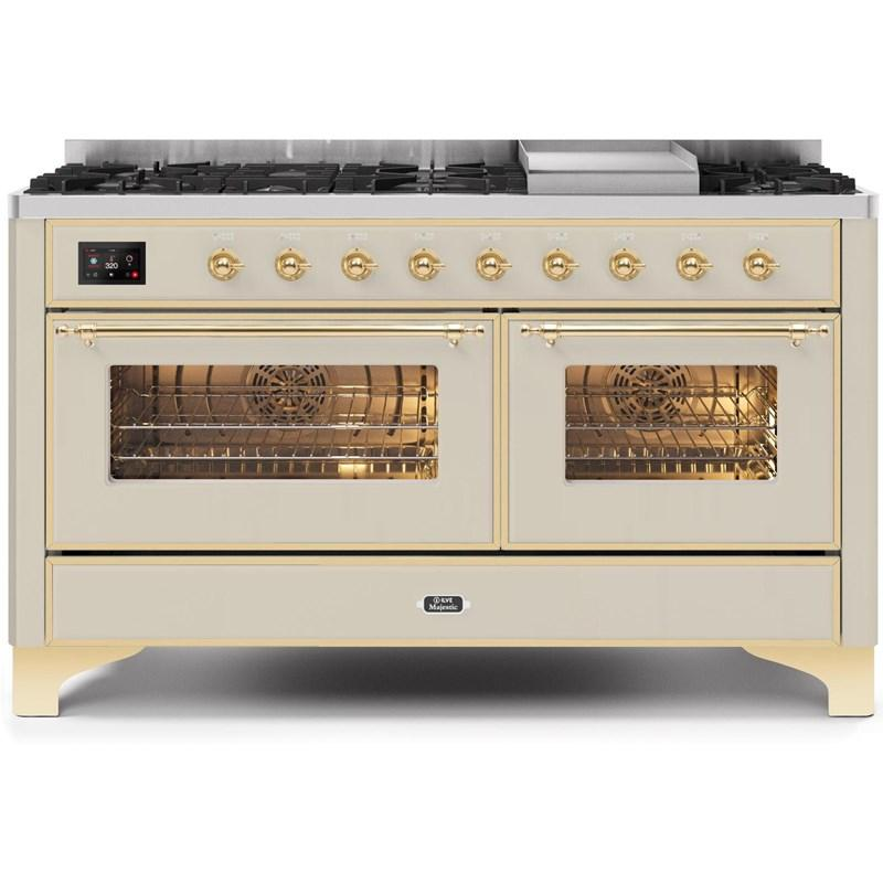 "Majestic II Series Freestanding Dual Fuel Natural Gas Range with 7 Sealed Burners   Griddle   Dual Ovens   TFT Oven Touch Control Display   Brass Trim   in Antique White""UM15FE3AWG 60 - America Best Appliances, LLC"