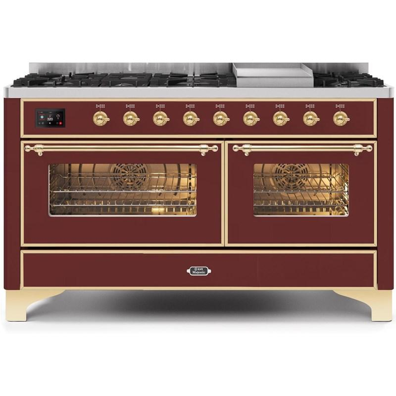 "Majestic II Series Freestanding Dual Fuel Natural Gas Range with 7 Sealed Burners   Griddle   Dual Ovens   TFT Oven Touch Control Display   Brass Trim   in Burgundy""UM15FE3BUG 60 - America Best Appliances, LLC"