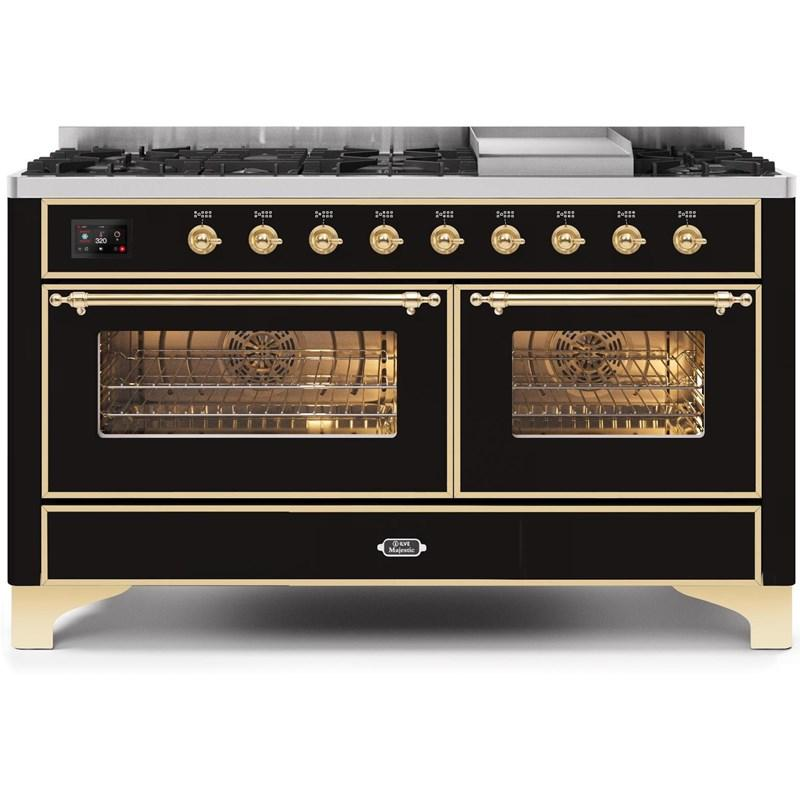 "Majestic II Series Freestanding Dual Fuel Natural Gas Range with 7 Sealed Burners   Griddle   Dual Ovens   TFT Oven Touch Control Display   Brass Trim   in Glossy Black""UM15FE3BKG 60 - America Best Appliances, LLC"