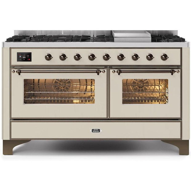 "Majestic II Series Freestanding Dual Fuel Natural Gas Range with 7 Sealed Burners   Griddle   Dual Ovens   TFT Oven Touch Control Display   Bronze Trim   in Antique White""UM15FE3AWB 60 - America Best Appliances, LLC"