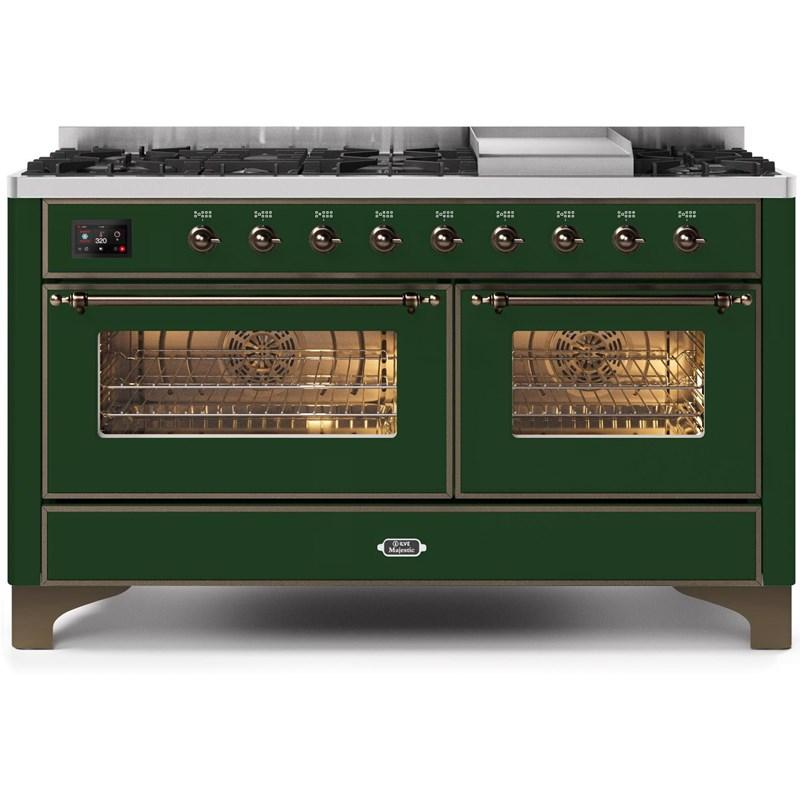 "Majestic II Series Freestanding Dual Fuel Natural Gas Range with 7 Sealed Burners   Griddle   Dual Ovens   TFT Oven Touch Control Display   Bronze Trim   in Emerald Green""UM15FE3EGB 60 - America Best Appliances, LLC"
