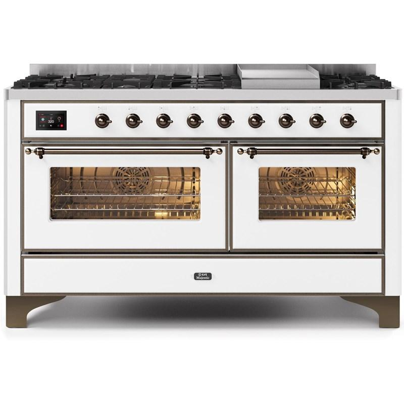 "Majestic II Series Freestanding Dual Fuel Natural Gas Range with 7 Sealed Burners   Griddle   Dual Ovens   TFT Oven Touch Control Display   Bronze Trim   in White""UM15FE3WHB 60 - America Best Appliances, LLC"