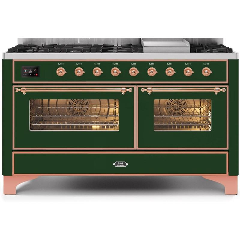 "Majestic II Series Freestanding Dual Fuel Natural Gas Range with 7 Sealed Burners   Griddle  Dual Ovens   TFT Oven Touch Control Display   Copper Trim   in Emerald Green""UM15FE3EGP 60 - America Best Appliances, LLC"