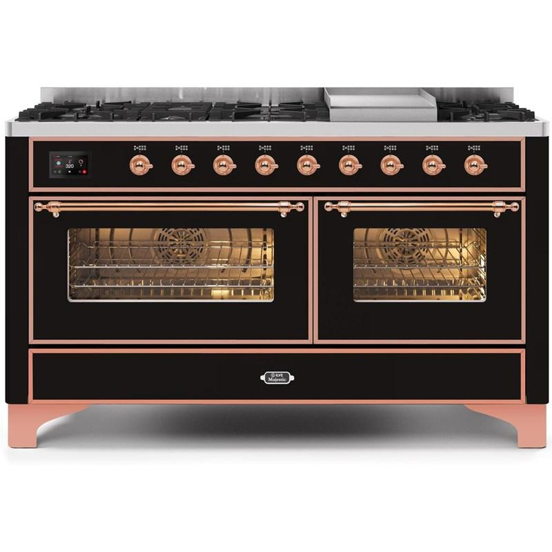 "Majestic II Series Freestanding Dual Fuel Natural Gas Range with 7 Sealed Burners   Griddle   Dual Ovens   TFT Oven Touch Control Display   Copper Trim   in Glossy Black""UM15FE3BKP 60 - America Best Appliances, LLC"