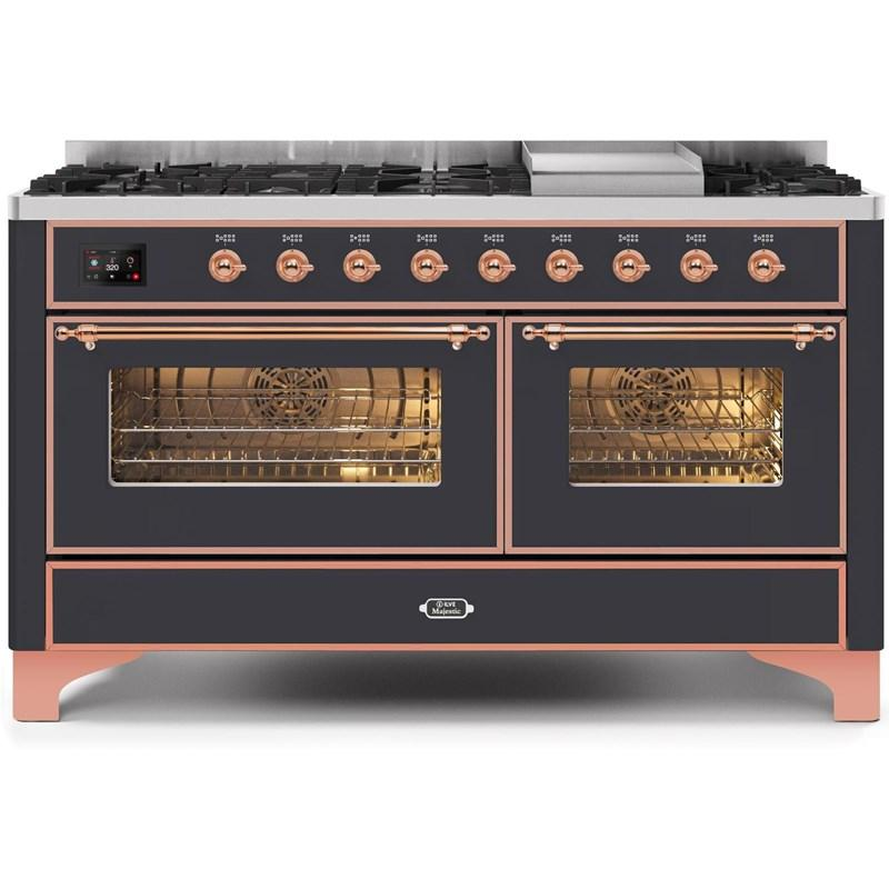 "Majestic II Series Freestanding Dual Fuel Natural Gas Range with 7 Sealed Burners   Griddle   Dual Ovens   TFT Oven Touch Control Display   Copper Trim   in Matte Graphite""UM15FE3MGP 60 - America Best Appliances, LLC"