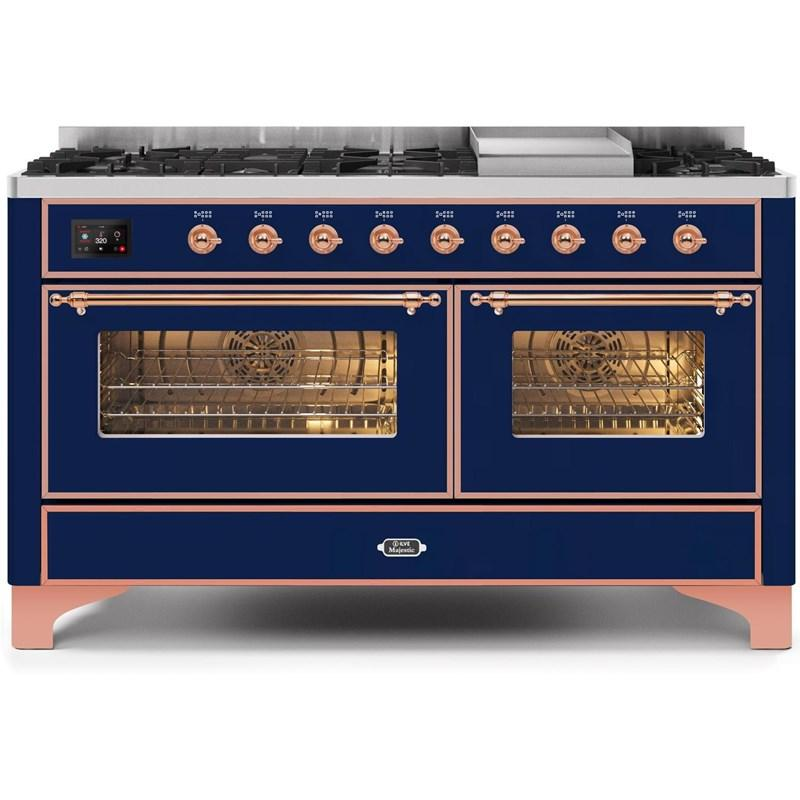 "Majestic II Series Freestanding Dual Fuel Natural Gas Range with 7 Sealed Burners   Griddle   Dual Ovens   TFT Oven Touch Control Display   Copper Trim   in""UM15FE3MBP 60 - America Best Appliances, LLC"