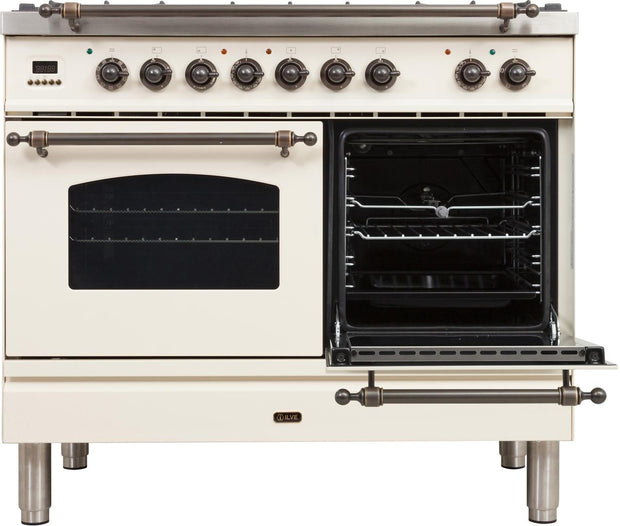 "Nostalgie Series Dual Fuel Natural Gas Range with 5 Sealed Brass Burners  3.55 cu. ft. Total Capacity True Convection Oven  Griddle  with Bronze Trim  in Antique White UPDN100FDMPAY 40"" - America Best Appliances, LLC"