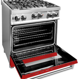 Professional Gas on Gas Range in Stainless Steel with Red Matte Door (RG-RM-30) ZLINE 30 in. - America Best Appliances, LLC