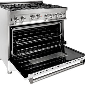 Professional Gas on Gas Range in Stainless Steel with White Matte Door (RG-WM-36) ZLINE 36 in. - America Best Appliances, LLC