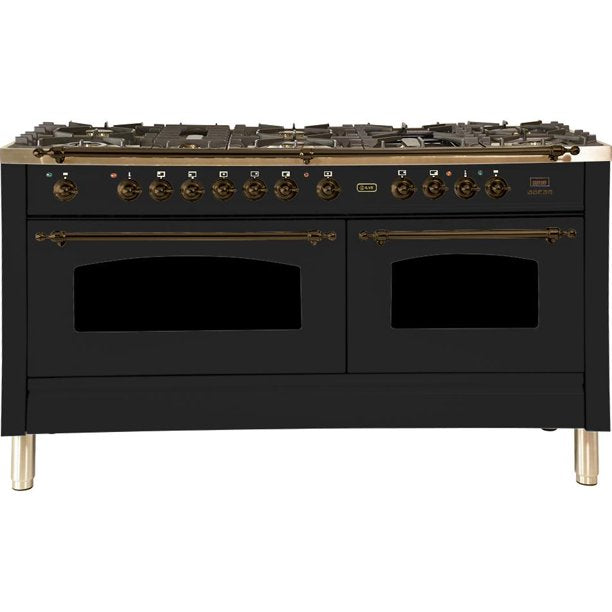 "Nostalgie Series Dual Fuel Liquid Propane Range with 8 Sealed Burners  5.99 cu. ft. Total Capacity True Convection Oven  Griddle  with Bronze Trim  in Matte Graphite  UPN150FDMPMYLP 60"" - America Best Appliances, LLC"