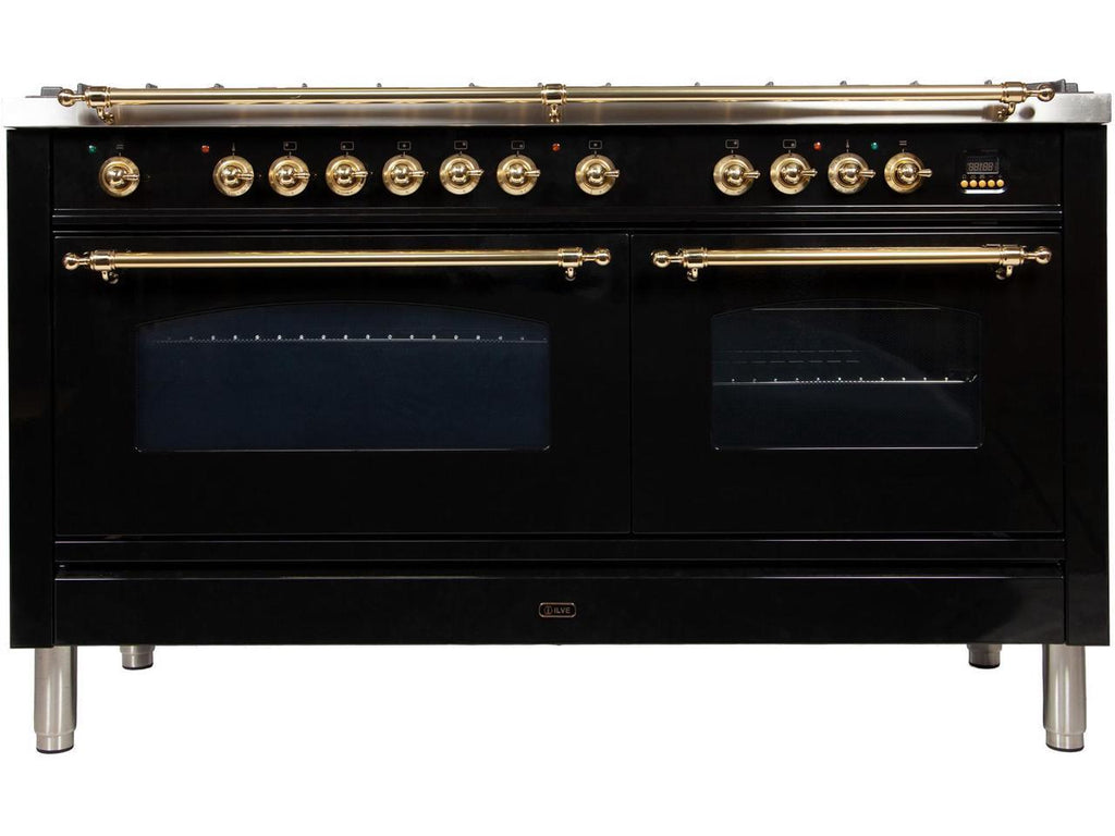 "Nostalgie Series Dual Fuel Natural Gas Range with 8 Sealed Burners  5.99 cu. ft. Total Capacity True Convection Oven  Griddle  with Brass Trim  in Glossy Black  UPN150FDMPN 60"" - America Best Appliances, LLC"
