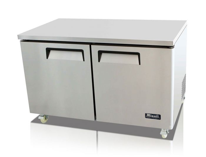 "Migali C-U60F-HC 60"" Competitor Series Undercounter and Work Top Freezer with 18.2 cu. ft. Capacity, 2 Shelves, Stainless Steel Construction, 115 Volts, Digital Controllers, and Forced Air Refrigeration System, in Stainless Steel - America Best Appliances, LLC"