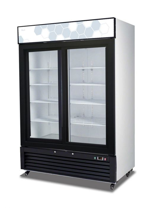 "Migali C-49RS-HC 55"" Competitor Series Glass Door Merchandiser Refrigerator with 49 cu. ft. Capacity, 8 Adjustable Epoxy Coated Wire Shelves, LED Lighting, and Digital Temperature Control, in Black - America Best Appliances, LLC"
