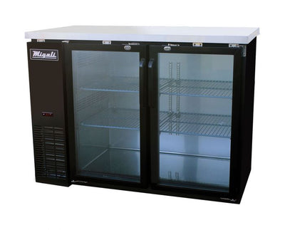 "Migali C-BB48G-HC 48"" Glass Door Back Bar Refrigerator with 11.8 cu. ft. Capacity, 2 Doors, Hydrocarbon Refrigeration System, Robust Forced Air Refrigeration System and Swing Door Style, in Black - America Best Appliances, LLC"