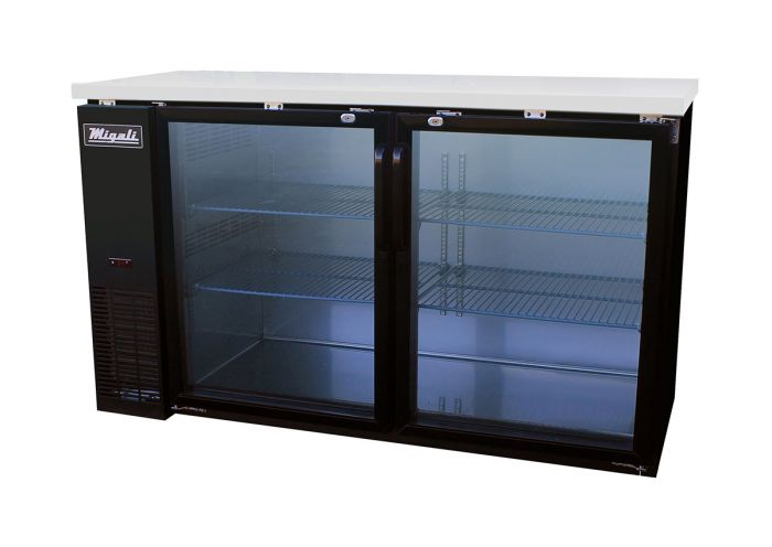 """Migali C-BB60G-HC Glass Door Back Bar Refrigerator with 15.8 cu. ft. Capacity, 2 Door, Hydrocarbon Refrigeration System, Robust Forced Air Refrigeration System and Swing Door Style, in Black "" - America Best Appliances, LLC"