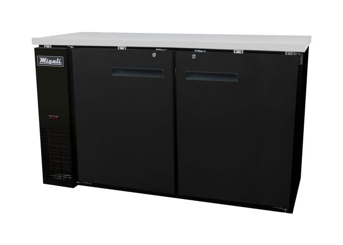 "Migali C-BB60-HC Competitor Series Back Bar Cooler Black 2 Solid Door Refrigerator w/R290 60"" - (2) 1/2 Keg Capacity - America Best Appliances, LLC"