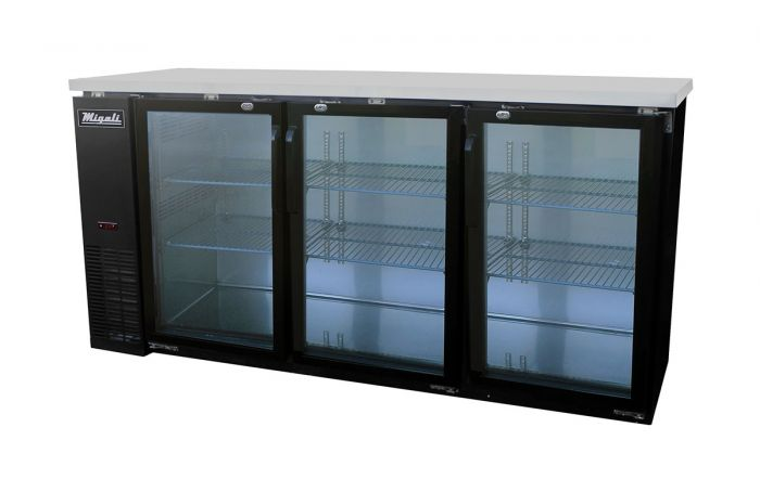 Migali C-BB72G-HC Glass Door Back Bar Refrigerator with 19.6 cu. ft. Capacity, 3 Doors, Hydrocarbon Refrigeration System, Robust Forced Air Refrigeration System and Swing Door Style, in Black - America Best Appliances, LLC