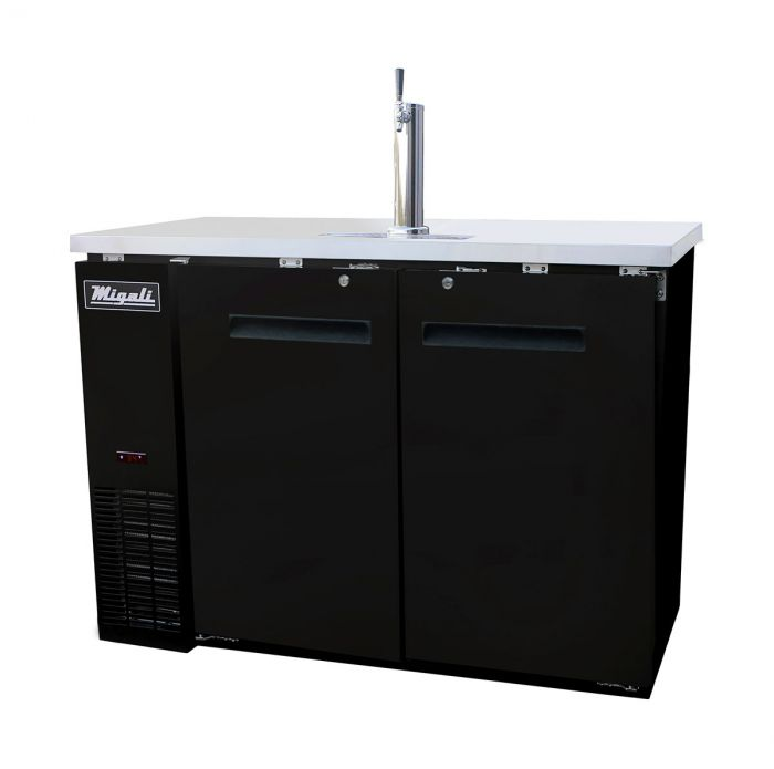 "Migali C-DD48-2-HC Competitor Series Black 2 Solid Door 1 Single Tap Direct Draw Beer Cooler 48"" - (2) 1/2 Keg Capacity - America Best Appliances, LLC"