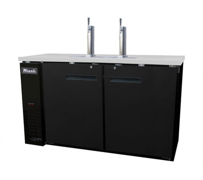 "Migali C-DD60-2-HC Competitor Series Black 2 Solid Door 2 Single Tap Direct Draw Beer Cooler 60"" - (2) 1/2 Keg Capacity - America Best Appliances, LLC"