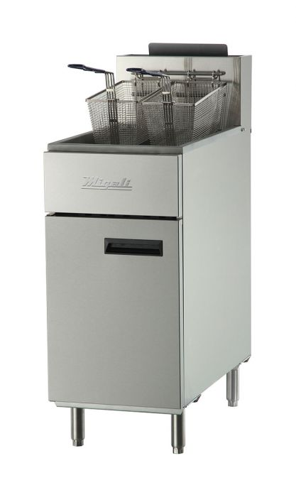 "Migali C-F40-LP 16"" Commercial Liquid Propane Gas Fryer with 3 Burners, 90000 Total BTU, Stainless Steel Construction, 2 Chrome Plated Wire Mesh Baskets, and 2 Chrome Plated Wire Mesh Baskets, in Stainless Steel - America Best Appliances, LLC"