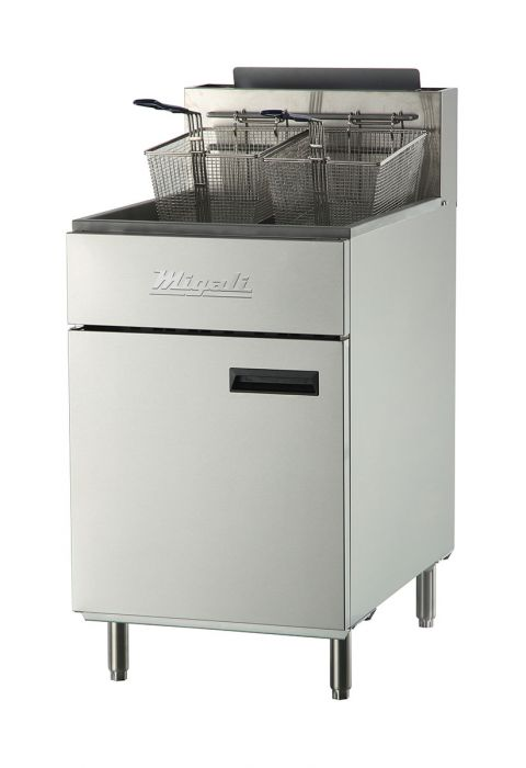 "Migali C-F75-NG 22"" Commercial Natural Gas Fryer with 5 Burners, 170000 Total BTU, Stainless Steel Construction, 2 Chrome Plated Wire Mesh Baskets, and Manual Ignition, in Stainless Steel - America Best Appliances, LLC"