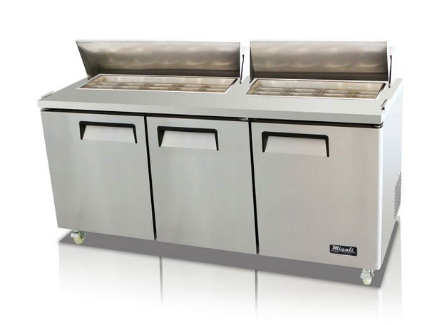 "Migali C-SP72-18-HC 72"" Competitor Series Sandwich Prep Table with 18 (1/6 Size) Pan Capacity, Wire Shelf, 9.25"" Cutting Board, Stainless Steel Construction, Digital Controller, Casters, in Stainless Steel - America Best Appliances, LLC"