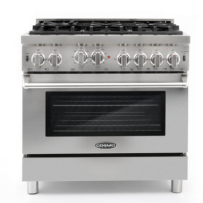 "Cosmo 36""  Gas Range  Stainless Steel   COS-GRP366 (36"" w/ convection) - America Best Appliances, LLC"