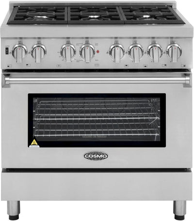 "Cosmo Commercial 36"" Single Oven Dual Fuel Range with 6 Italian Burners and 4 Function Electric Oven COS-DFR366 (36"") - America Best Appliances, LLC"
