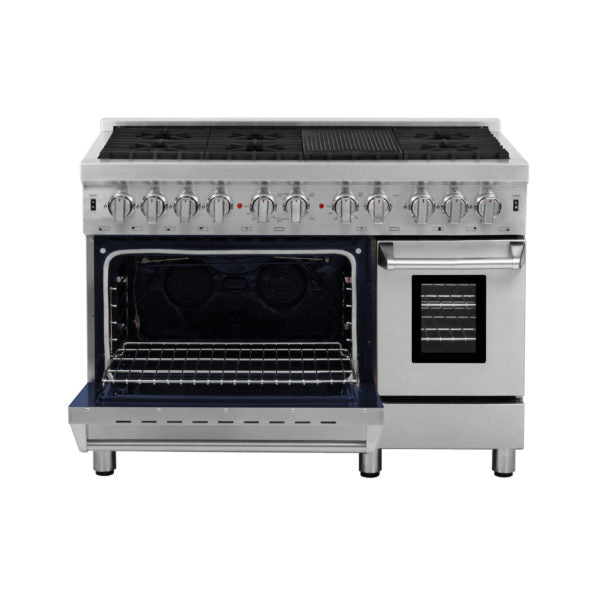 "Cosmo Commercial 48"" Double Oven Dual Fuel Range with 6 Sealed Burners in Stainless Steel - America Best Appliances, LLC"