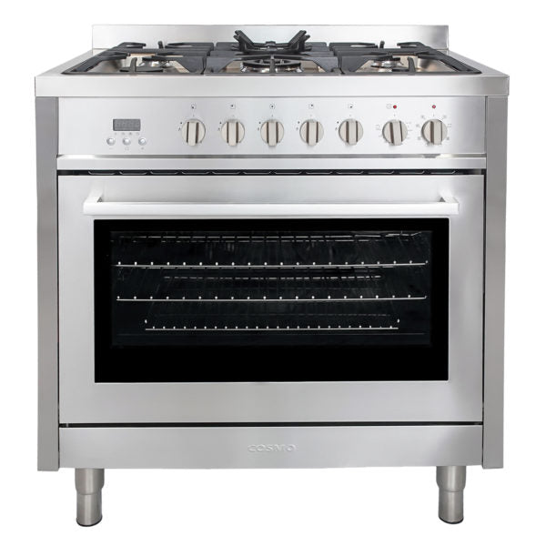 "Cosmo Single Oven Dual Fuel Range with 8 Function Convection Oven in Stainless Steel F965 (36"") - America Best Appliances, LLC"