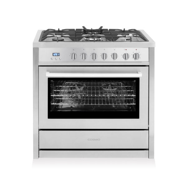 "Cosmo Commercial 36"" Single Oven Dual Fuel Range with 8 Function Convection Oven in Stainless Steel  F965NF(36"") - America Best Appliances, LLC"