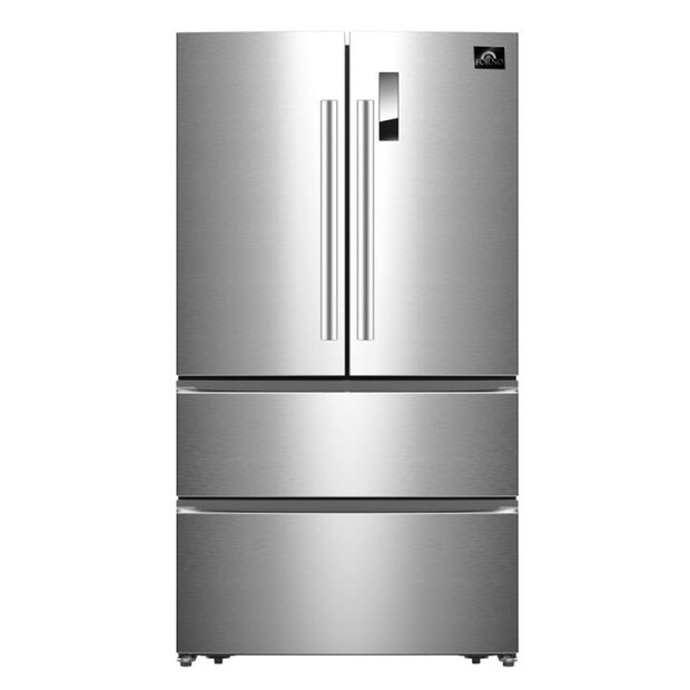 "Forno 19-cu ft French Door No Frost Refrigerator in Stainless Steel 32.8"" with Pro Style French-Door, Counter-Depth, Multi Air-Flow System, Electronic Control, LED Lighting - America Best Appliances, LLC"