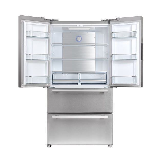 "Forno 19.2-cu ft  French Door Refrigerator in Stainless Steel 35.9"" , with Pro Style French-Door, Counter-Depth, Multi Air-Flow System, Electronic Control, LED Lighting, w/Ice Maker, Energy Star - America Best Appliances, LLC"