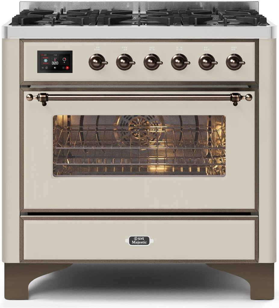 "Majestic II Series Dual Fuel Range with 6 Burners  3.55 cu. ft. Oven Capacity   Bronze Trim   in Antique White""UM096DNS3AWBLP 36 - America Best Appliances, LLC"