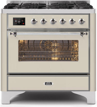 "Majestic II Series Dual Fuel Range with 6 Burners   3.55 cu. ft. Oven Capacity   Chrome Trim   in Antique White""UM096DNS3AWCLP 36 - America Best Appliances, LLC"