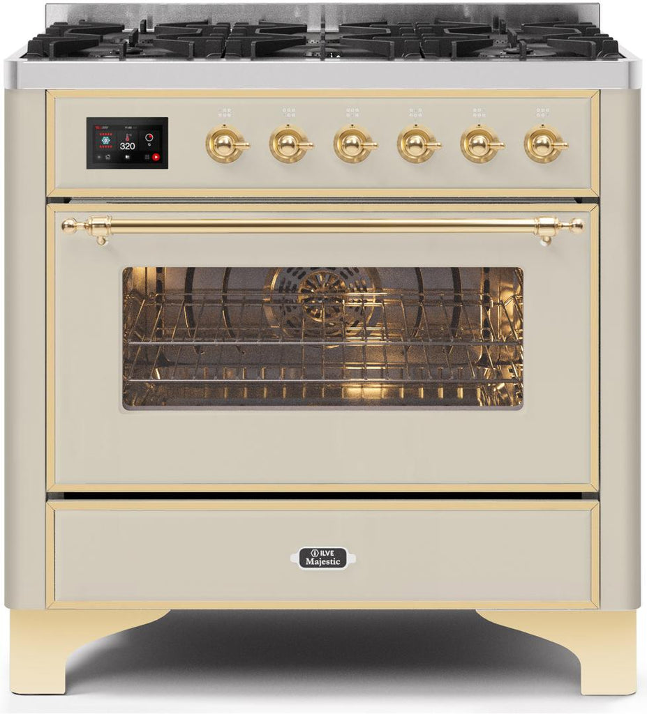 "Majestic II Series Dual Fuel Range with 6 Burners  3.55 cu. ft. Oven Capacity  Brass Trim  in Antique White""UM096DNS3AWGLP 36 - America Best Appliances, LLC"