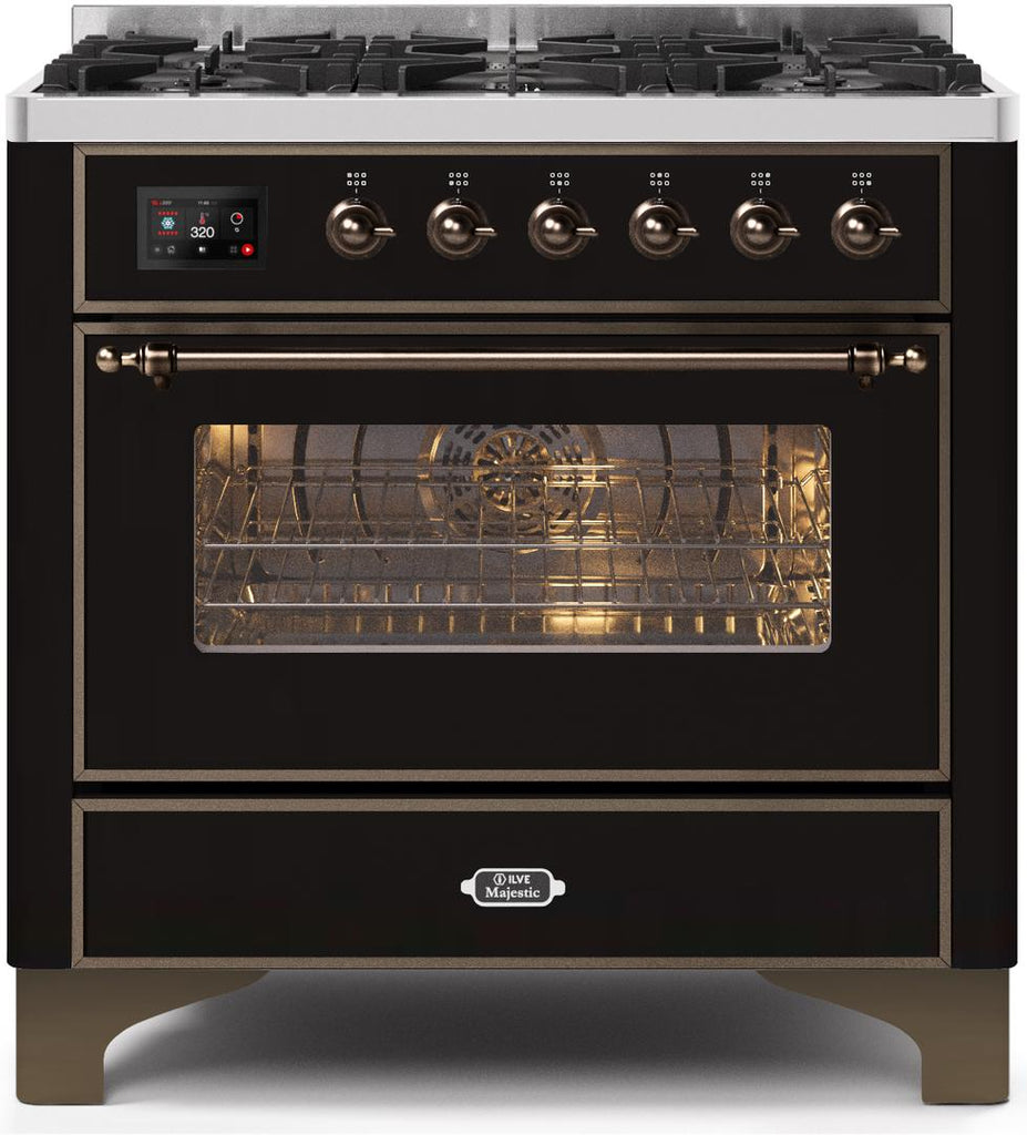 "Majestic II Series Dual Fuel Range with 6 Burners   3.55 cu. ft. Oven Capacity   Bronze Trim   in Glossy Black""UM096DNS3BKB 36 - America Best Appliances, LLC"