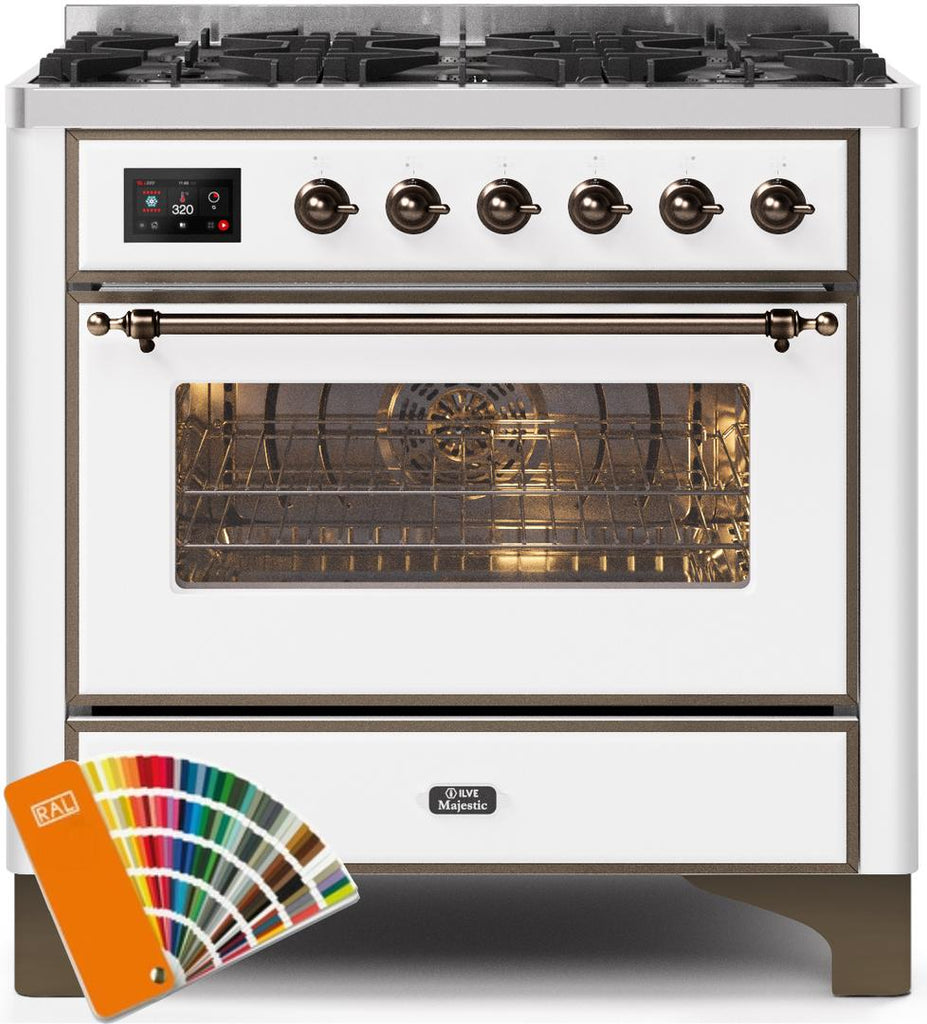 "Majestic II Series Dual Fuel Liquid Propane Range with 6 Burners  3.5 cu. ft. Oven Capacity  TFT Oven Control Display  Bronze Trim  in Custom RAL Color UM096DNS3RALBLP  36"" - America Best Appliances, LLC"